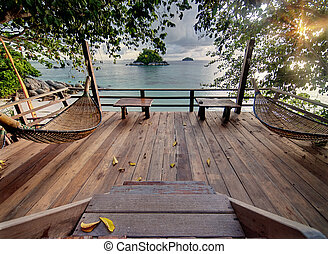 Seculed terrace with wooden hammocks - Private terrace with...