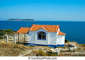 Small byzantine church on the hill, on Thassos island,...