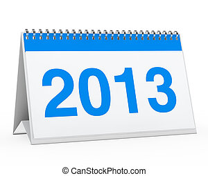 calendar 2013 - blue year calendar 2013 on white background