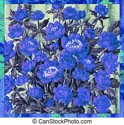 Flowers blue on a canvas
