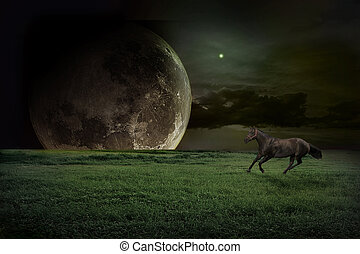 fiction landscape with running horse
