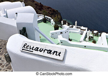 Santorini island in Greece - Traditional restaurant at...
