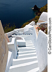 Santorini island in Greece - Traditional city of Fira at...