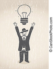 Great Idea - Hand drawn illustration. Businessman having an...