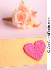 valentines card - Pink valentines card with heart shape and...