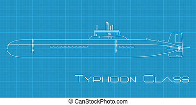 Typhoon class submarine - High detailed vector illustration...