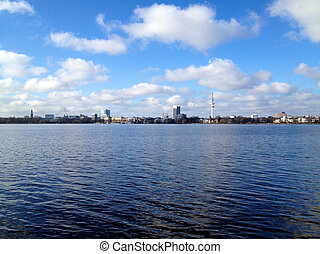 Hamburg Lake Alster in Spring - View across lake Alster in...