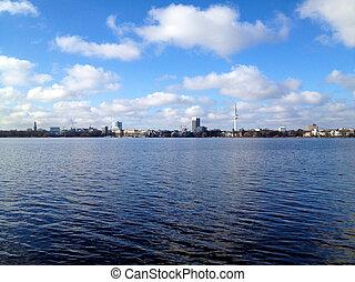 Hamburg Lake Alster in Spring - View across lake Alster in...