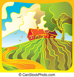 Rural landscape with houses