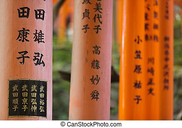 religious japanese writings - fushimi Inari shrine torii...