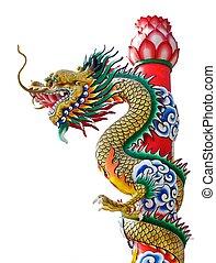 isolado, estátua, dragão