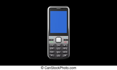 Mobile phone on black background. - Mobile Phone turning on...
