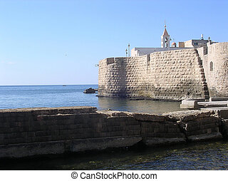 Akko 2004 - Sea Walls in Old City of Akko Acre, Israel...
