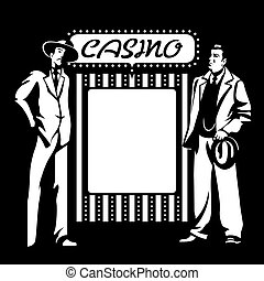 Casino mafia - Tough mafia guys at the blank casino signpost