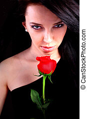 Sexy woman with red rose - Sexy woman holding a red rose