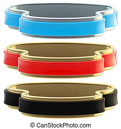 Set of three glossy coat tapes isolated
