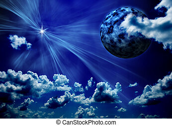 abstract blue background with planet and star shining...