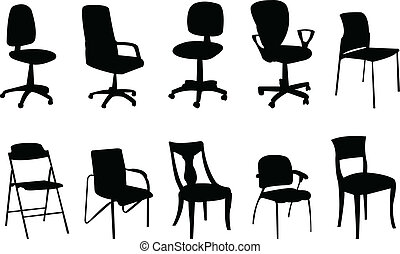 Chairs silhouette collection - vector