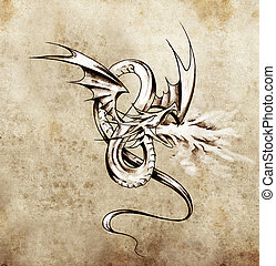 Medieval dragon figure. Sketch of tattoo art over antique...
