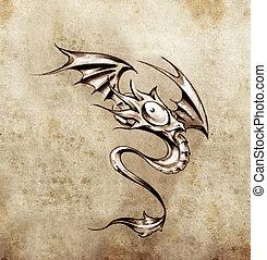入れ墨, わずかしか, モンスター, 面白い, スケッチ, ファンタジー, ドラゴン, 流行, 芸術