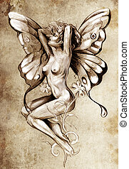 Nude fairy Fantasy sketch of tattoo art, naked woman figure