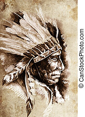 Indian Head Chief Illustration Sketch of tattoo art, over...