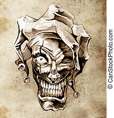 Fantasy clown joker Sketch of tattoo art over dirty...
