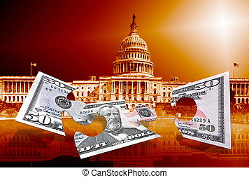 fifty dollars puzzle on capitol background - fifty dollars...