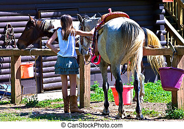 Girl with Horse at Barn - A preteen girl at the barn getting...