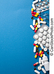 pills border over blue