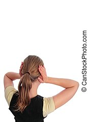 Woman blocking her ears _ isolated with white background
