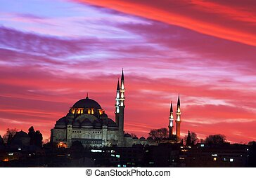 Suleymaniye Mosque is on the bank of Golden Horn, Istanbul.