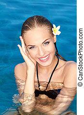 sonriente, tropical, belleza