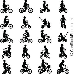 children riding bicycles silhouettes - vector