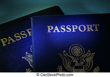 government passports - Closeup of two US government...