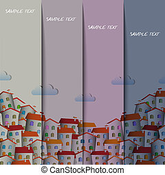 Layout design with  colorful town