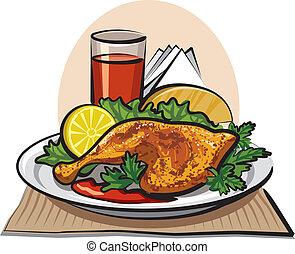rôti, poulet, baguette