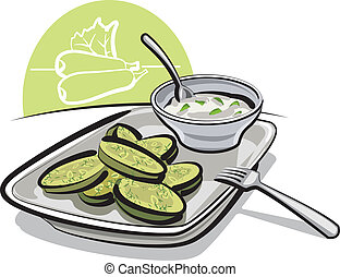 fried zucchini with sauce