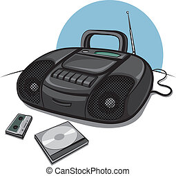 Portable tape recorder with CD play