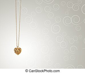 gold heart-shaped pendant on curls background