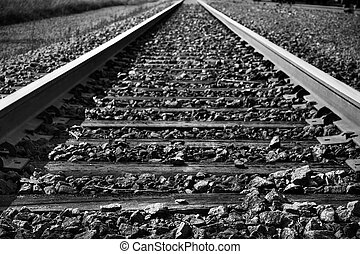 Black and white train tracks - Dramatic black and white...