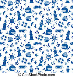 sea pattern - seamless pattern with summer and sea symbols