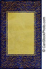 royal blue old paper with golden frame