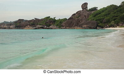 tropical beach scenery - ko similan tropical beach at dusk...