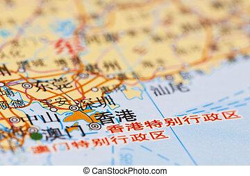 China map, Hong Kong.