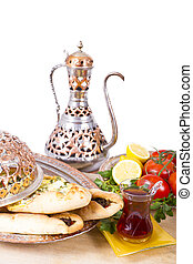 Turkish Pide with Hot Tea - Made with cheese and seasoned...