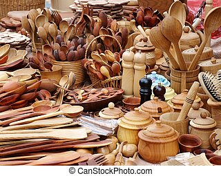 Wooden kitchen new instruments big useful collection -...