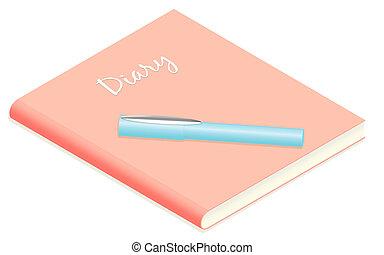 lindo, soñador, diario, pluma