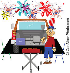 july4th tailgate party - tailgate party celebrating the...