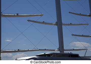 Masts on blue sky